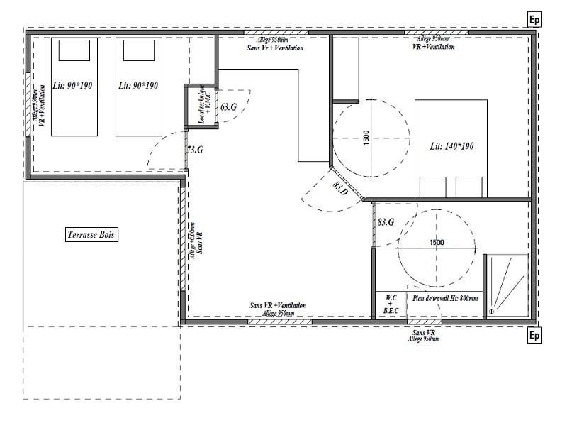 plan chalet pmr 2 chambres 4 personnes